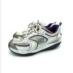 Skechers Shape-Ups white purple silver 9.5